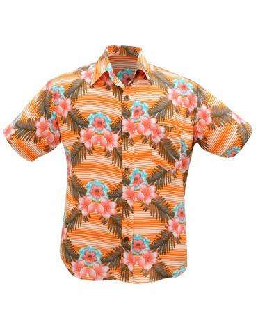 Hawaii kauluspaita, oranssin sävyinen
