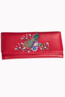 Punainen riikinkukko lompakko