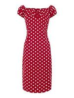 Bestseller polkadot kapea mekko punainen