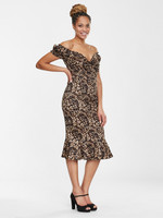 Merenneitohelmainen leopardikuvioinen kapea mekko