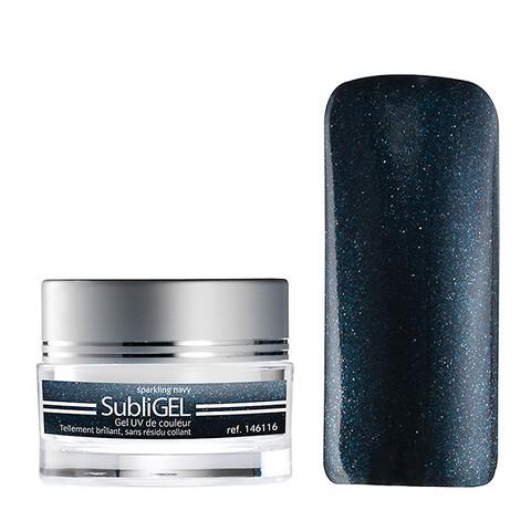 Coloured UV nail gel Subligel 7 ml -sparkling navy