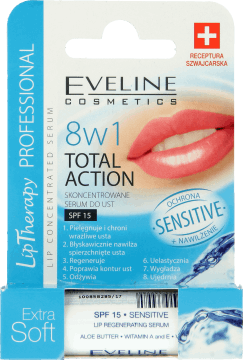 Eveline 8in1 Extra Soft sensitive SPF 15 Huulivoide