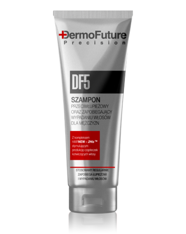 Dermofuturen DF5 Hiustenlähtöä ja päänahan hilseilyä ehkäisevä shampoo miehille 200ml