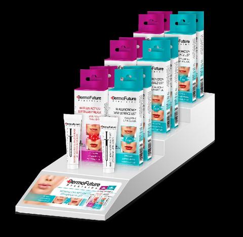 DermoFuture huulisetti, Hyaluronic lip push-up, Lip injection glass glow, 12 + 2 ilmaista testeriä + teline