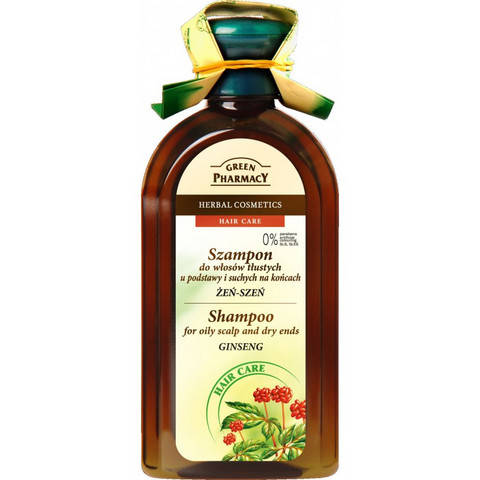 Green Pharmacy Ginseng-shampoo rasvoittuvalle hiuspohjalle ja kuiville latvoille 350ml