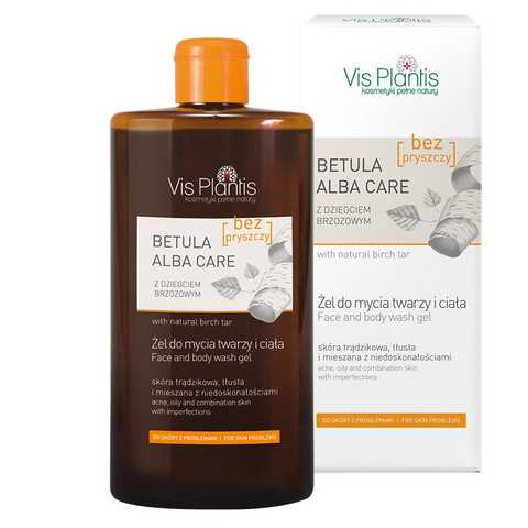 Vis Plantis Betula Alba Care Koivu puhdistusgeeli kasvoille & vartalolle, rasvaiselle iholle 300ml