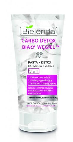 Bielenda CARBO DETOX WHITE CARBON ™ 3in1 kasvojenpuhdistusaine (puhdistus, kuorinta, naamio) 150g