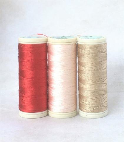 Silkkiompelulanka, Coats Seta Reale, ohut, 80m, 3 väriä