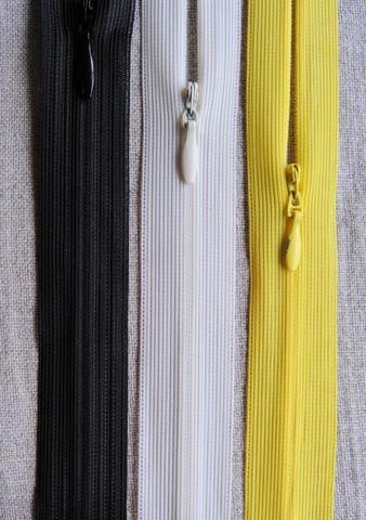 Piilovetoketju 18 cm, 3 väriä (keltainen loppu)