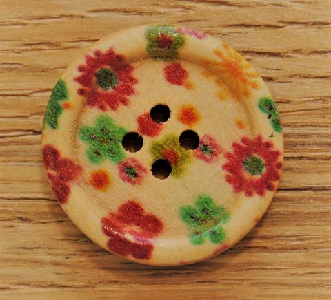 Kukkakuvioitu puunappi, 24 mm