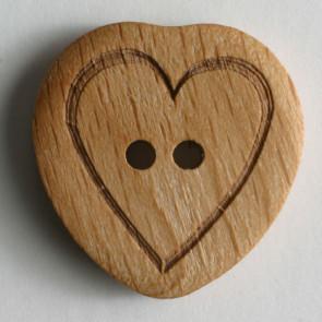 Sydänkuviollinen puunappi, 20 mm