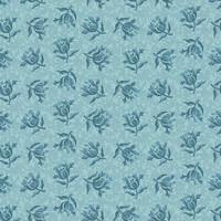 Sinisävyinen kukkakuvionen puuvillakangas