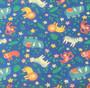 Tummansininen eläinkuvioinen luomutrikoo, 1 metri