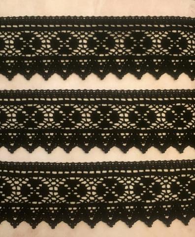 Musta reunapitsi, leveys 50 mm, puuvillaa