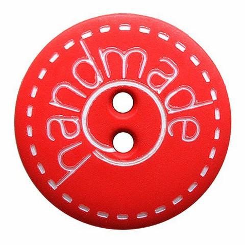 Punainen nappi handmade-tekstillä, 18 mm