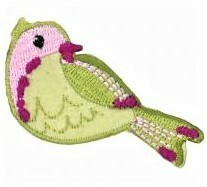 Vaaleanvihreä lintu-koristekuvio