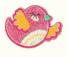 Pinkki kimaltava lintu-koristekuvio