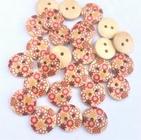 Punakukkakuvioinen puunappi, 15 mm