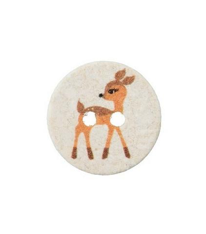 Vaalea bambikuvioinen kierrätysnappi, 15 mm