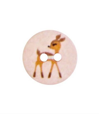 Vaaleanpunainen bambikuvioinen kierrätysnappi, 15 mm