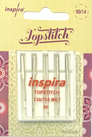 Päällitikkausneula (Topstitch), koko 90, 5 kpl