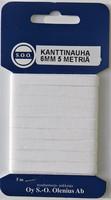 Kanttinauha 6 mm, 5 m pakkaus, valkoinen ja musta