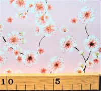 Vaaleanpunainen kirsikankukkakuvioinen puuvilla