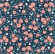 Sinipohjainen ruusukuvioinen puuvillakangas