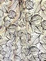 Valkoinen lehtikuvioinen luomupuuvillatrikoo, 1 metri