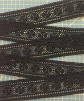 Musta välipitsi, leveys 50 mm, puuvillaa