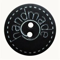 Musta nappi handmade-tekstillä, 18 mm