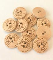 Puunappi handmade-tekstillä, 18 mm