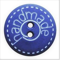 Sininen nappi handmade-tekstillä, 18 mm