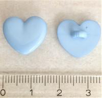 Vaaleansininen sydämenmuotoinen kantanappi, 15 mm