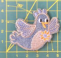 Lentelevä farkkulintu-koristekuvio