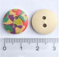 Värikäs abstrakti kuvioinen puunappi, 15 mm