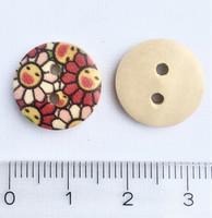 Iloinen kukkakuvioinen puunappi, 15 mm