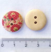 Iloinen kukkakuvioinen puunappi, 17 mm