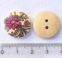 Kaunis kukkakuvioinen puunappi, 17 mm
