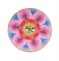 Värikäs puunappi, 20 mm, vaaleanpunasävyinen