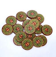 Värikäs puunappi, 20 mm, kelta-vihreäsävyinen