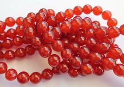 Kivihelmi Jade värjätty tumma punainen pyöreä 8 mm (20 kpl/pss)