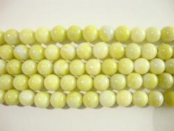 Kivihelmi Mustard stone limenvihreä pyöreä 8 mm (30 kpl/pss)