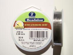 Beadalon koruvaijeri 7-säikeinen kirkas teräs 0,38 mm  (kelassa 9,2 m)