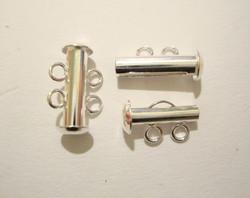 Putkilukko hopeoitu 2:lle vaijerille tai nauhalle 16 x 6 mm