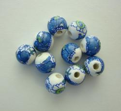 Posliinihelmi valkoinen+kukat sininen/vihreä 10 mm