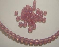 Tsekkiläinen fasettihiottu lasihelmi pyöreä roosan punainen 4 mm (100/pss)