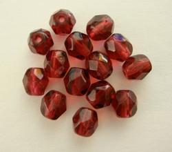 Tsekkiläinen fasettihiottu lasihelmi pyöreä rubiinin punainen 6 mm (50/pss)