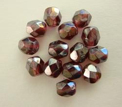 Tsekkiläinen fasettihiottu lasihelmi pyöreä rubiinin punainen AB 6 mm (50/pss)