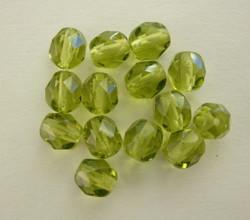 Tsekkiläinen fasettihiottu lasihelmi pyöreä oliivin vihreä 6 mm (50/pss)